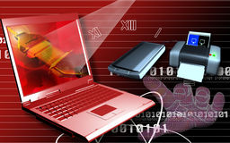 Laptop printer and scanner Stock Images