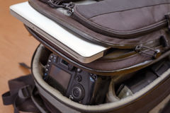 Laptop and Professional Photography Equipment in Protective Back Royalty Free Stock Image