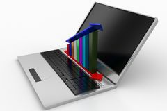 Laptop with profit graph Stock Photography