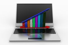 Laptop with profit graph Stock Photo