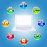 Laptop and program icons. The concept of computer software Stock Image