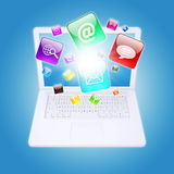 Laptop and program icons. The concept of computer software Royalty Free Stock Photo