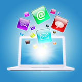 Laptop and program icons Royalty Free Stock Image