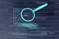 Laptop progressing tags for content, keywords suggesting tools Royalty Free Stock Photo