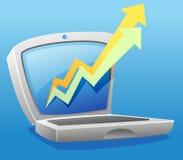 Laptop and progressive arrow stock image