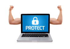 Laptop with protect sign and muscular biceps Royalty Free Stock Photos