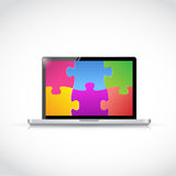 Laptop puzzle pieces tablet screen illustration Stock Photography