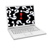 Laptop with question marks and exclamation mark on the screen isolated over white. Stock Images