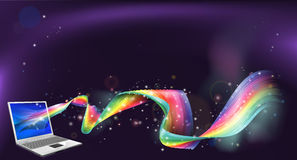Laptop rainbow background Royalty Free Stock Photography