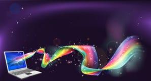 Laptop rainbow background Royalty Free Stock Photography