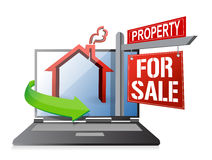 Laptop real estate search and buy concept Stock Photo