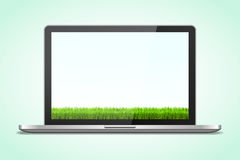 Laptop in realistic style with shadow with grass background royalty free illustration