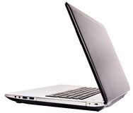 Laptop rear isometric view Royalty Free Stock Photos