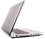 Laptop rear isometric view on white Stock Photos