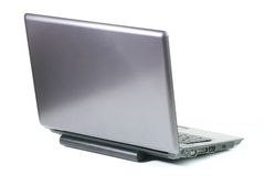 Laptop Rear View. A laptop viewed from behind against a white background royalty free stock photo