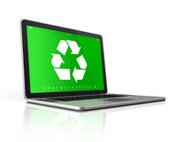 Laptop with a recycle symbol on screen. environmental conservati Royalty Free Stock Photo