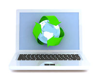 Laptop with recycling symbol. Stock Photography