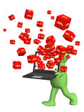 Laptop and red boxes with the goods at a discount Royalty Free Stock Photography
