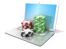 Laptop with red, green and black chips. 3D rendering - concept of online gambling Royalty Free Stock Photos