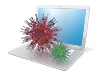 Laptop with red and green virus on it. Concept of dangerous software. 3D. Render illustration  on white background Royalty Free Stock Photo