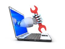 Laptop and red key in robot hand Royalty Free Stock Photos