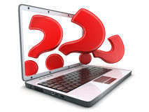 Laptop and red question Stock Photo