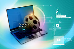 Laptop with reel. In attractive background Stock Photo