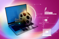 Laptop with reel. In attractive background Royalty Free Stock Image