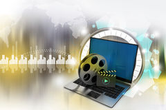 Laptop with reel. In attractive background Stock Images