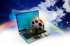 Laptop with reel. In color background stock illustration