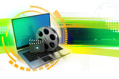 Laptop with reel. In color background Stock Photos