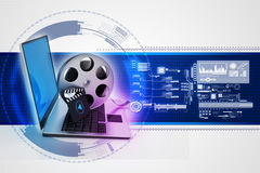 Laptop with reel Stock Image