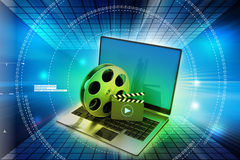 Laptop with reel Royalty Free Stock Images