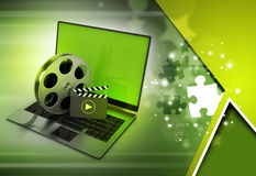Laptop with reel. In color background Royalty Free Stock Images
