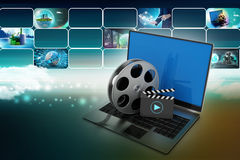 Laptop with reel. In color background royalty free illustration