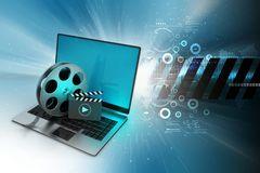 Laptop with reel wheel and clap board in color background. 3d illustration of Laptop with reel wheel and clap board in color background Stock Images