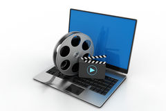 Laptop with reel. In white background Stock Images