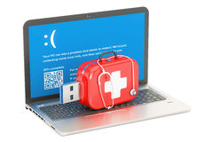 Laptop, repair and service concept. 3D rendering. Isolated on white background Stock Photography