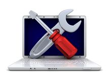 Laptop and repair Royalty Free Stock Photo