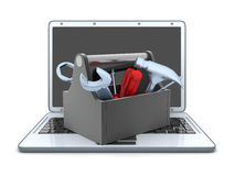 Laptop and repair Royalty Free Stock Images