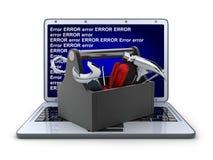 Laptop and repair Stock Photos