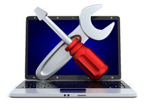 Laptop and repair Stock Photography
