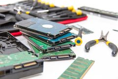 Laptop repair tools and technical support. Photo of the Laptop repair tools and technical support Stock Image