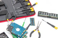 Laptop repair tools and technical support Stock Images