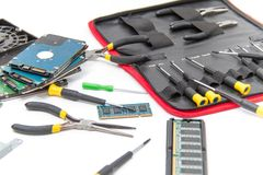Laptop repair tools and technical support Royalty Free Stock Image