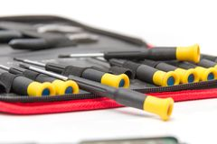 Laptop repair tools and technical support. Photo of the Laptop repair tools and technical support Stock Photos