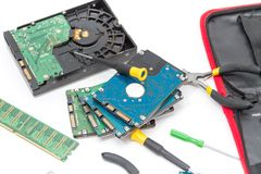 Laptop repair tools and technical support Royalty Free Stock Photography