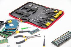 Laptop repair tools and technical support. Photo of the Laptop repair tools and technical support Royalty Free Stock Photography