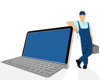 Laptop and repairer Royalty Free Stock Images