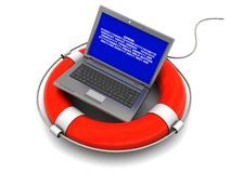 Laptop rescue. 3d illustration of laptop with error screen on rescue circle vector illustration